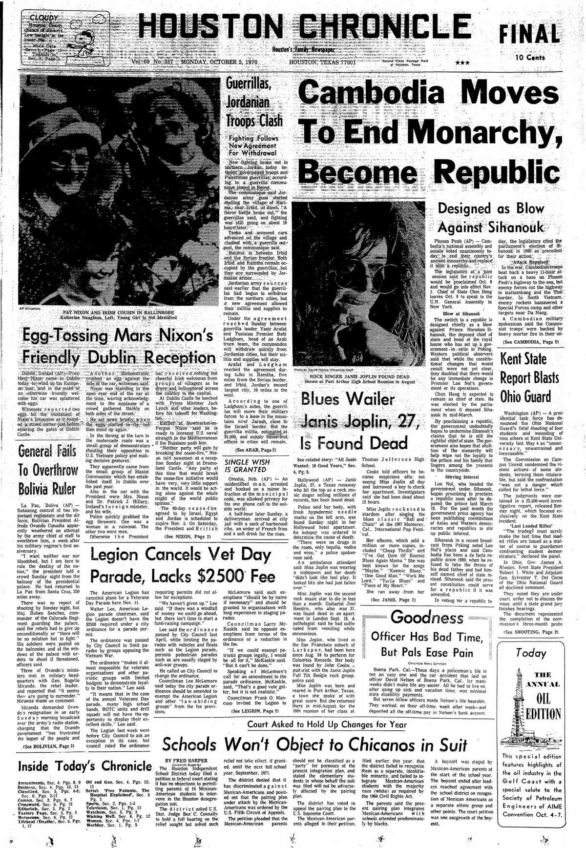 Houston Chronicle front page from Oct. 5, 1970.