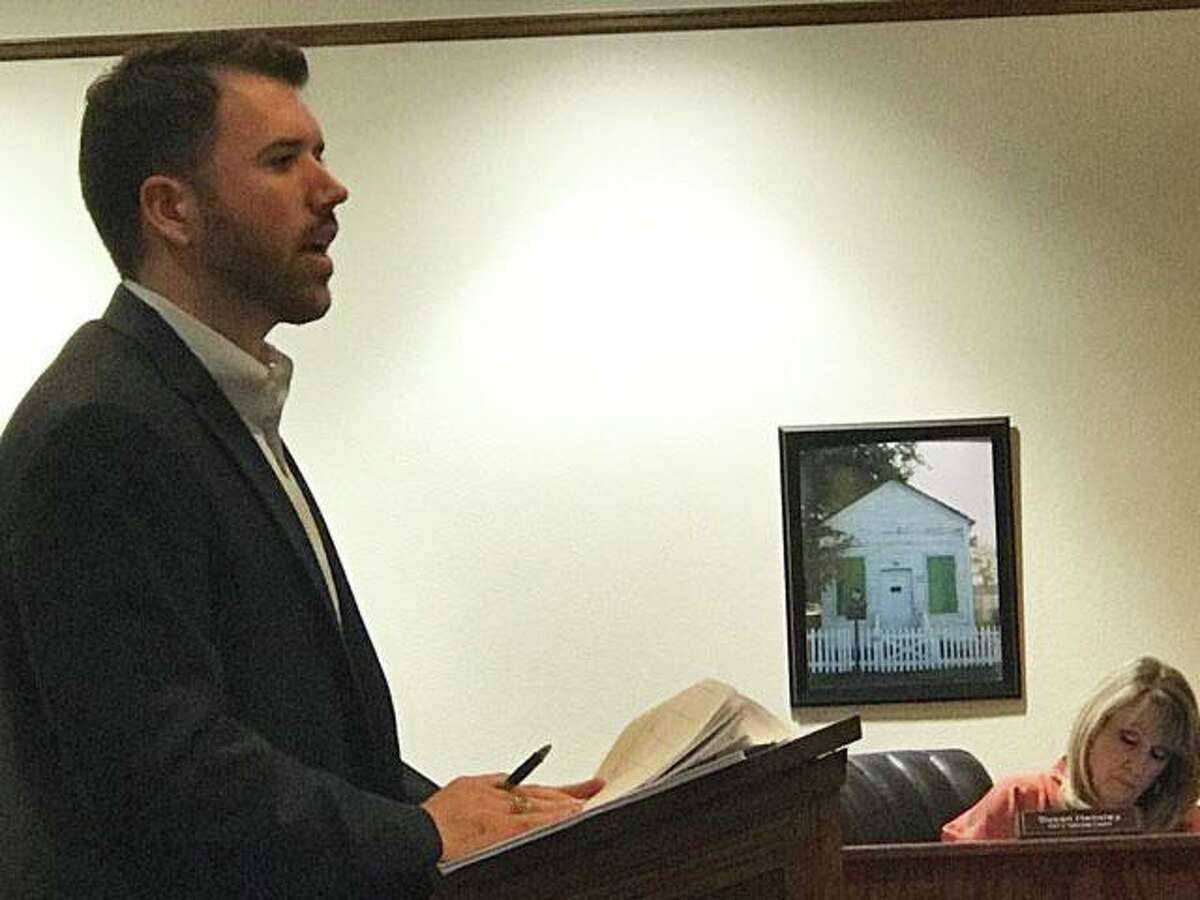 Project Engineer Chris Roznovsky with Jones and Carter provides an update in November at City Hall in Montgomery. The city of Montgomery has approved engineering consulting company WGA to start the bidding process on a project to perform cleaning and repairing on the city's sewer system.