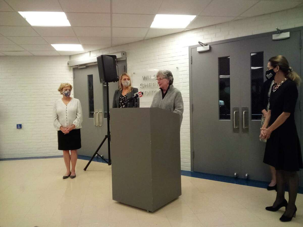 From left, Torrington Mayor Elinor Carbone, state Rep. Michelle Cook, center Executive Director Judy McElhone and Lt. Gov. Susan Bysiewicz at the Five Points Visual Arts Center in Torrington.