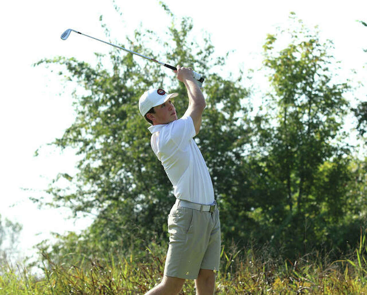 In this file photo, Father McGivney's Joey Hyten watches his tee shot on hole No. 12 on Wednesday at Spencer T. Olin in Alton.