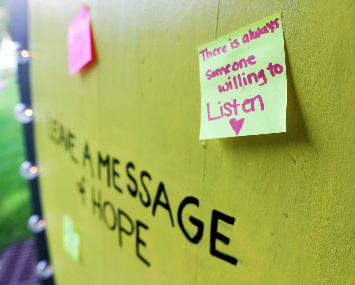 A note of encouragement is seen as part of the Send Silence Packing display at Lone Star College - Montgomery, Monday, Oct. 4, 2021, in Conroe. The traveling display of 1,000 backpacks were displayed on campus containing personal items, stories & pictures of students who have lost their battles with mental health as a result of suicide.