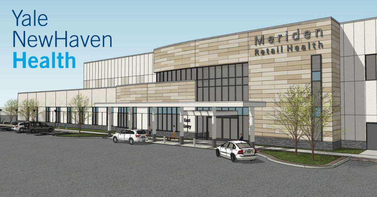 An artist's rendering of what the exterior of the former Macy's department store at the Meriden Mall will look like after it has been renovated by Yale New Haven Health System, which has purchased the former anchor store.