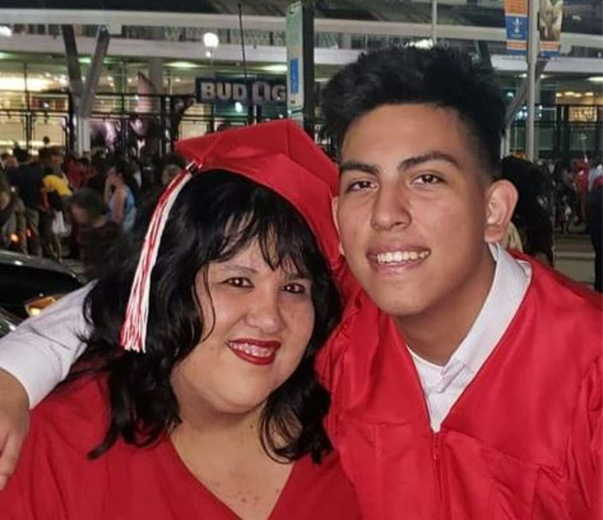 Eric Orduña (right) pictured with his mother Rose Orduña.