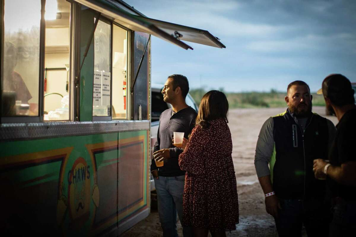 """Food trucks were on site for the """"West Texas Festival"""";  Beer, wine and spirits tasting benefiting the Ellen Noel Art Museum, October 1, 2021 at the Shotgun Range clubhouse of the Midland Shooters Association.  MANDATORY CREDIT: The Oilfield Photographer, Inc."""