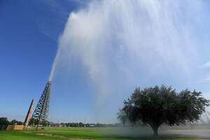 Troy Grey, Director of Spindletop Gladys City Boomtown Museum, finally got to blow the gusher, which had been shut down several months for repairs.  Photo made Monday, October 4, 2021 Kim Brent/The Enterprise