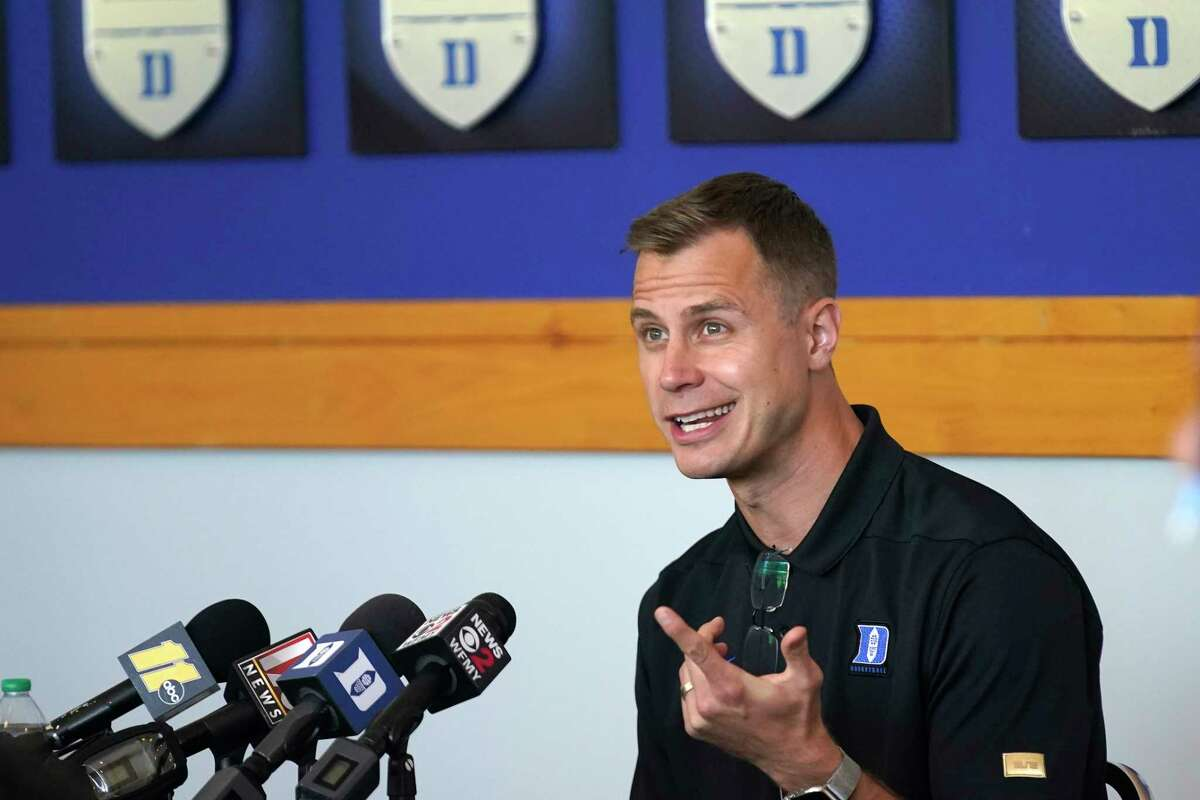 Duke associate head coach Jon Scheyer, shown at his school's Media Day last month, appeared at the Coaches vs. Cancer Basket Ball at Albany Capital Center on Oct. 4, 2021. He'll succeed Hall of Famer Mike Krzyzewski as Blue Devils head coach after this season. (AP Photo/Gerry Broome)