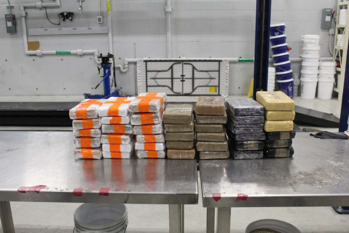 U.S. Customs and Border Protection officers said they seized these 35 packages containing 87.73 pounds of cocaine and five packages containing 12.25 pounds of fentanyl on Sept. 30 at the Juarez-Lincoln International Bridge. The drugs had a combined value of $812,370.