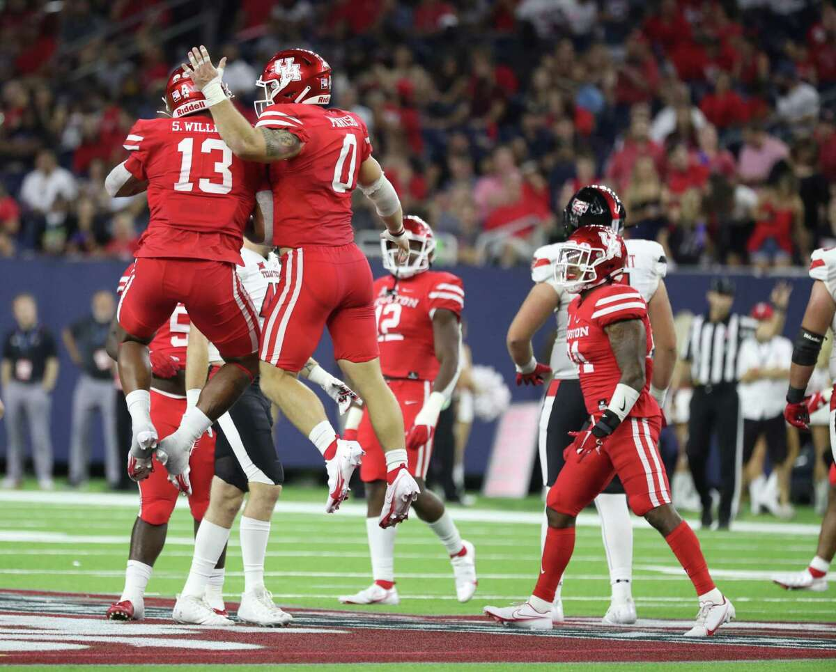 The UH defense, celebrating a stop against Texas Tech in opener, has had more to cheer about as the season has progressed an forcing turnovers has increased.