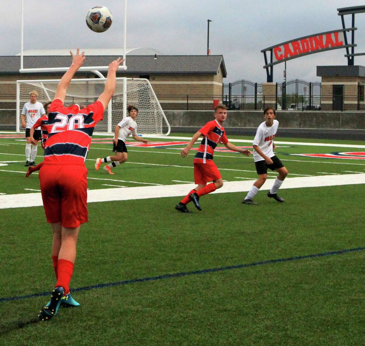 Big Rapids junior defender Carter Leyder throws the ball in from the touchline during BR's 3-0 win over Grant on Monday night at Cardinal Stadium. (Pioneer photo/Joe Judd)