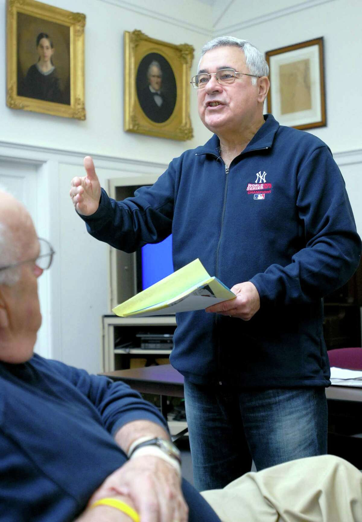 Rich Marazzi leads the discussion at a meeting of the Silver Sluggers at the Derby Public Library on Dec. 3, 2009.