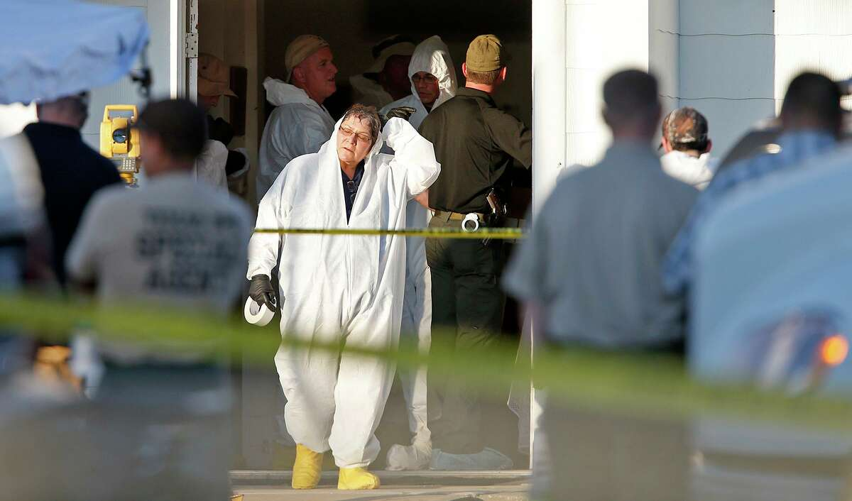 First responders work the scene of the mass shooting at the First Baptist Church of Sutherland Springs on Nov. 5, 2017.