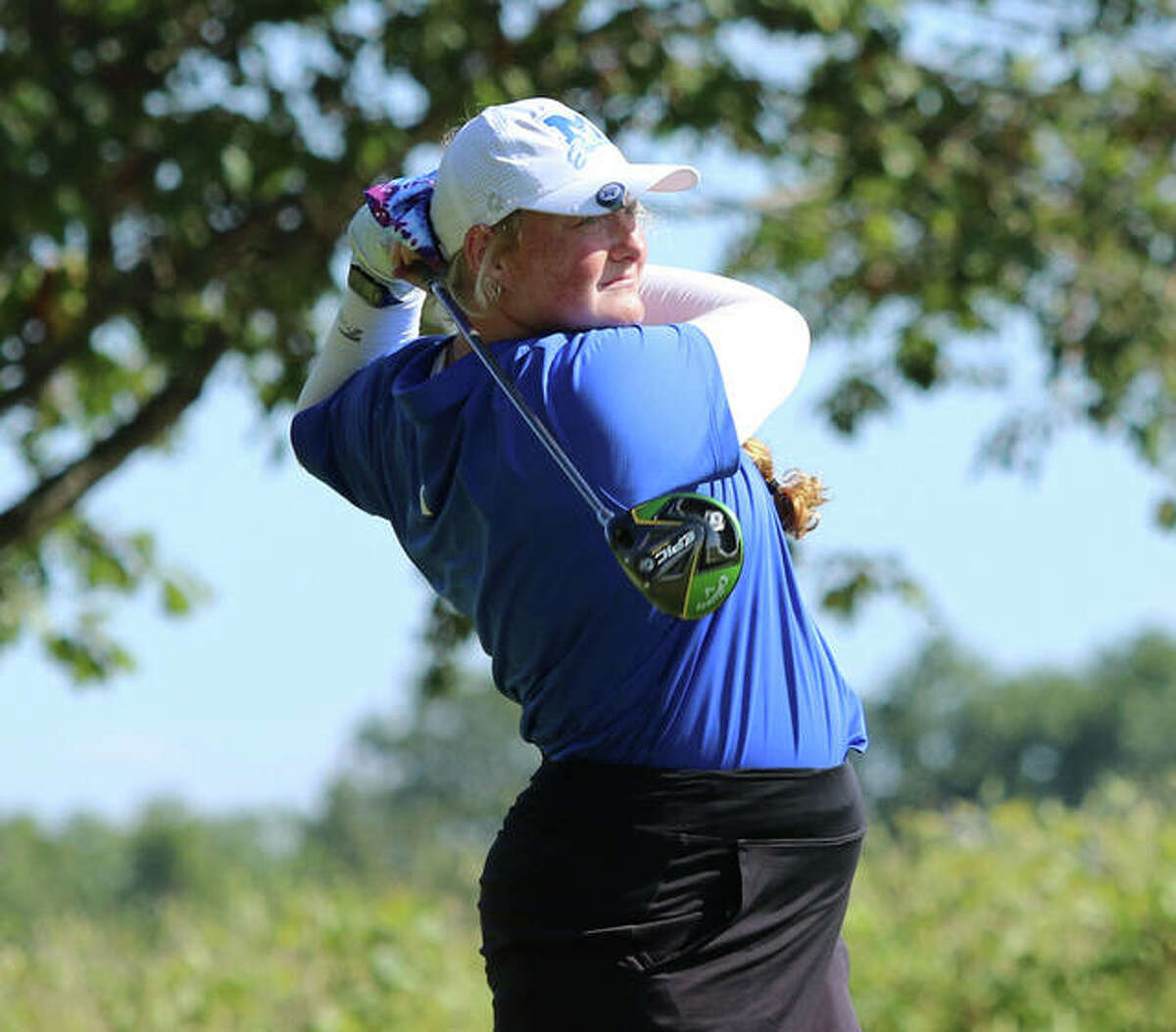 Marquette Catholic's Gracie Piar watches her drive on hole No. 11 in Monday's Class 1A sectional at Acorns Golf Links in Waterloo. Piar shot 2-under par 70 to win the sectional by five strokes.