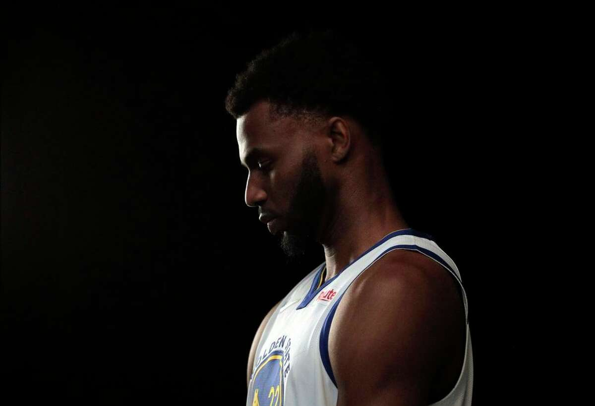Andrew Wiggins having his portrait made as the Golden State Warriors held their media day for the 2021-22 season at Chase Center in San Francisco, Calif., on Monday, September 27, 2021.