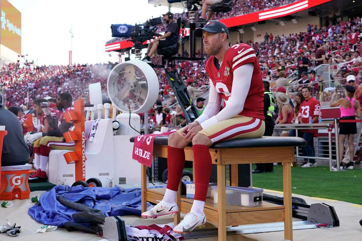 San Francisco 49ers kicker Robbie Gould (9) sits on a trainer's table during the second half of an NFL football game against the Seattle Seahawks in Santa Clara, Calif., Sunday, Oct. 3, 2021. (AP Photo/Tony Avelar)