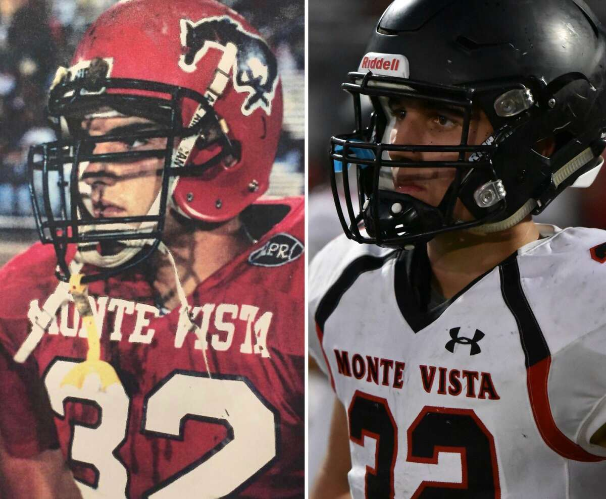 George Schramm, left, was a standout at Monte Vista-Danville in the early 1990s. His son Rocco, right, has been a driving force this season for the 5-0 Mustangs.