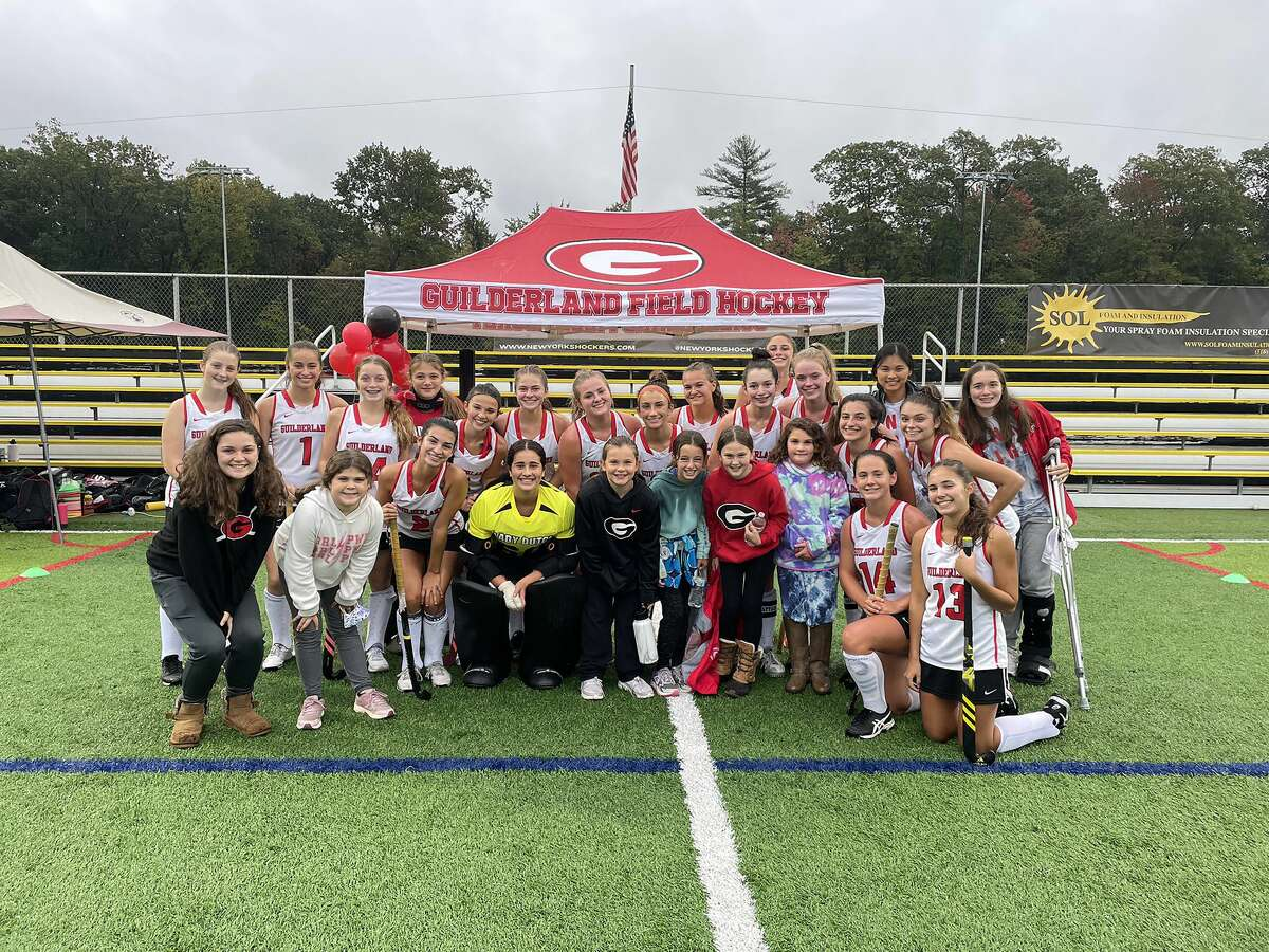 Guilderland players celebrate their victory on Senior Day over Bethlehem at Afrim's Sports Park in Colonie on Monday, Oct. 4, 2021.