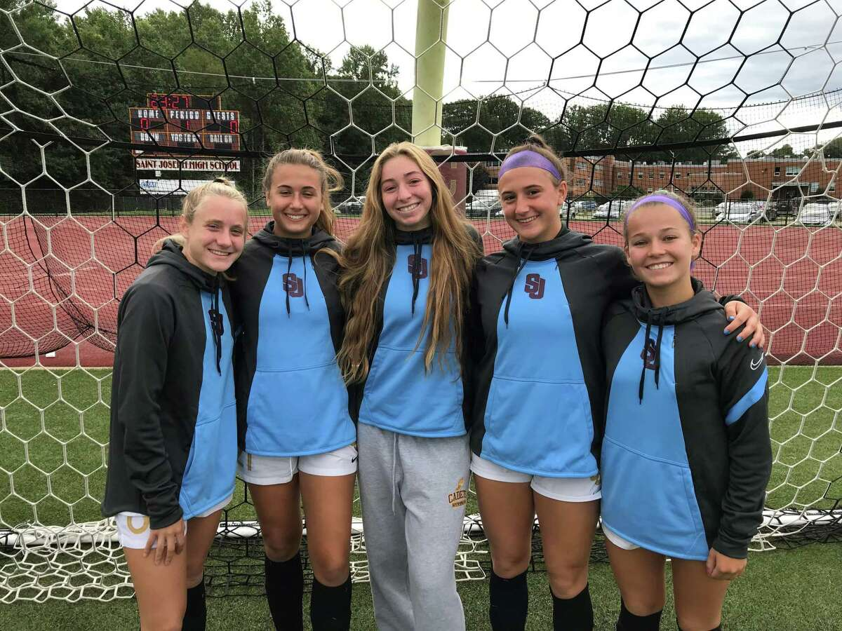 Mary Lundregan, Ava Cumello, Annie Stook, Caroline Sheehan and Maddigan Leifer have helped St. Joseph to a 7-0-0 start to the girls' soccer season.