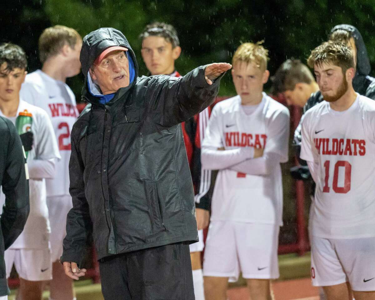 Maple Hill head coach Dan Gillespie instructions his team at halftime during a game against Watervliet at Watervliet High School on Monday, Oct. 4, 2021. Maple Hill won the game 5-0 giving Gillespie his 700th career win. (Jim Franco/Special to the Times Union)