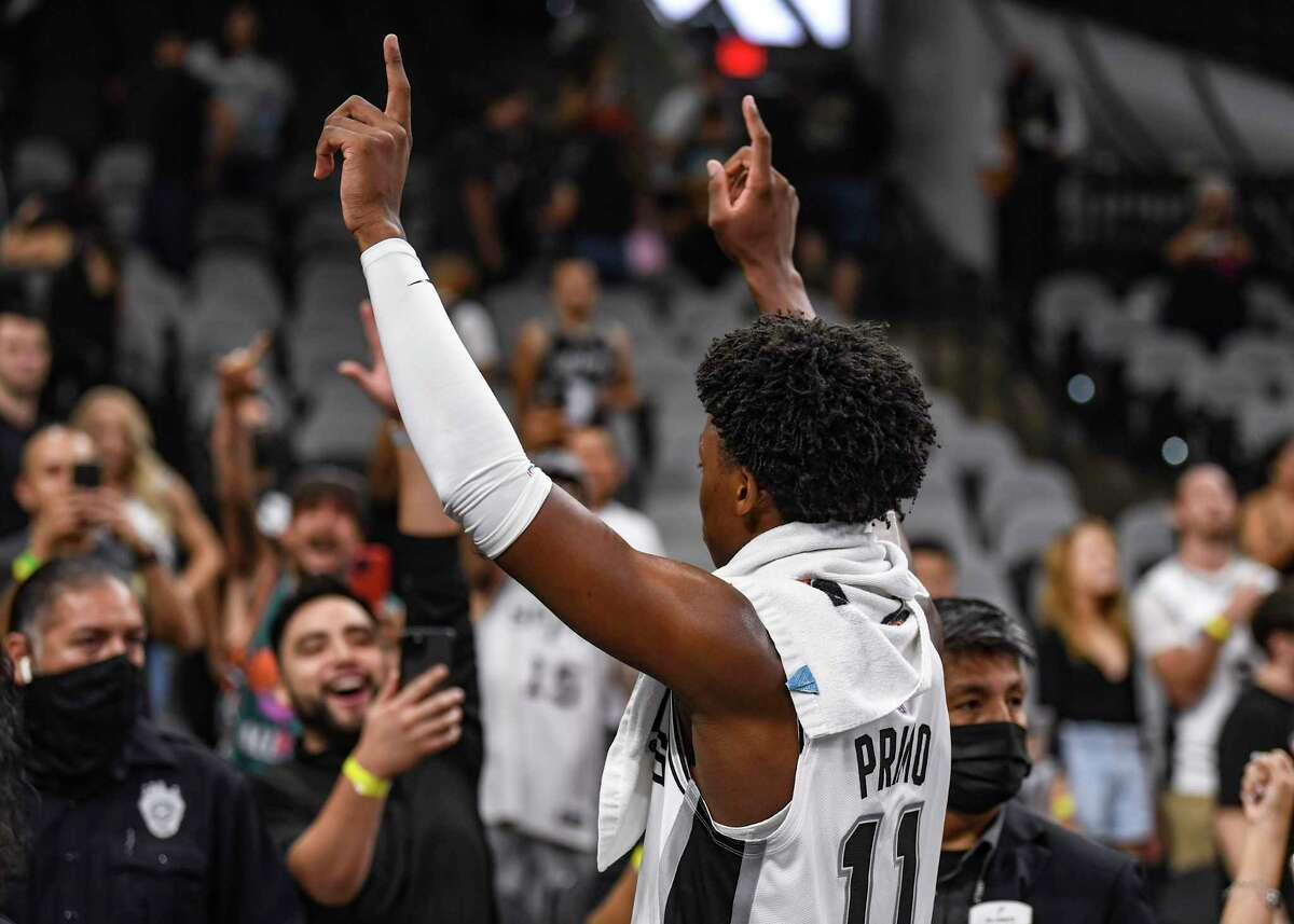 Fans at the AT&T Center for Monday's preseason opener delighted in Spurs rookie Josh Primo's 17-point performance against the Jazz, even chanting his name at one point.