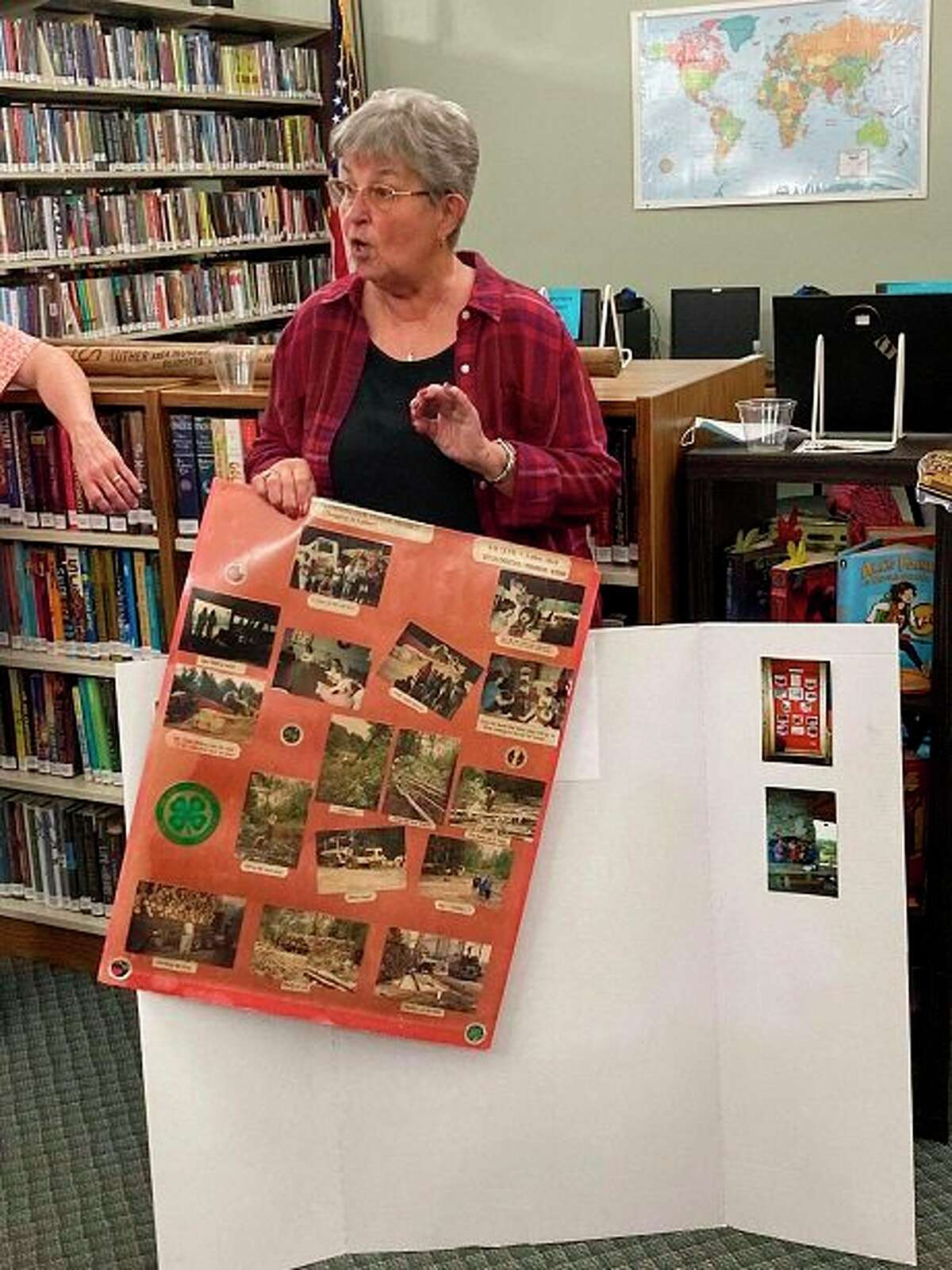Karen Neiger, a fount of knowledge when it comes to logging, shared a presentation with the public at the Luther Area Public Library. (Courtesy photo)