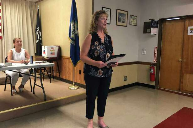 Stratford Mayor Laura Hoydick speaks after being endorsed for re-election by the Republican Town Committee at the Veterans of Foreign Wars hall July 27, 2021.