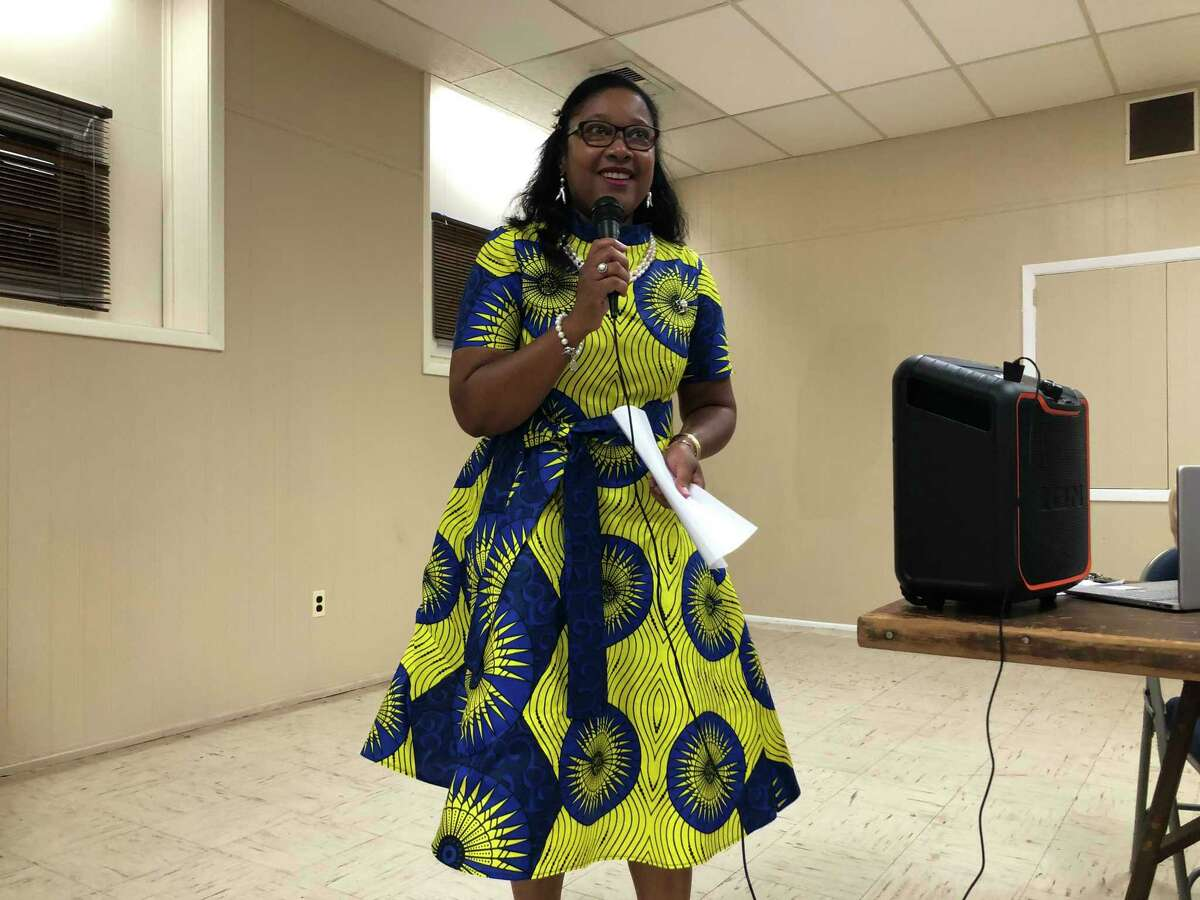 Immacula Cann speaks after winning the endorsement of Stratford Democratic Town Committee members at the Universalist Unitarian Church July 21, 2021.