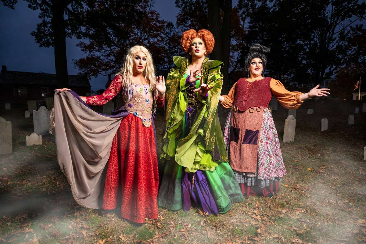"""""""RuPaul's Drag Race"""" star Tina Burner (middle) will be playing the role of Winifred Sanderson. Rounding out the Sanderson sisters are New York City drag queens Tammy Spanx (right) as Mary Sandersonand Bootsie Lefaris as Sarah Sanderson (left)."""
