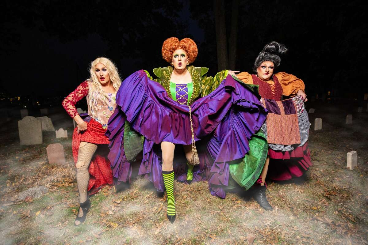 """""""RuPaul's Drag Race"""" star Tina Burner (middle) will be playing the role of Winifred Sanderson. Rounding out the Sanderson sisters are New York City drag queens Tammy Spanx (right) as Mary Sanderson and Bootsie Lefaris as Sarah Sanderson (left)."""