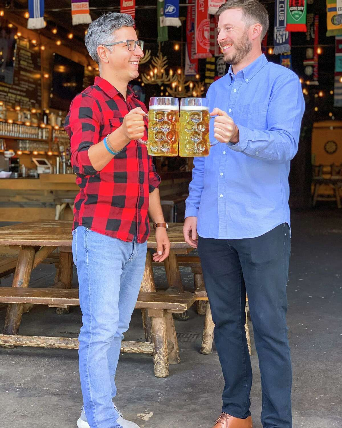 Sam Leamy, left, and Dan Henley are the new owners of the Wolff' Biergarten brand. The deal, initially announced in January by Wolff's founder Matt Baumgartner, was finalized on Oct. 1. Leamy was a longtime manager manager for the company. He and Henley, shown at the original Wolff's, in Albany's warehouse district, have taken over that location and the Wolff's in Schenectady; they will be acquiring the Syracuse Wolff's in the future. Baumgartner retains ownership of the buildings, and this past spring he converted the Troy Wolff's into Troy Beer Garden, which he still runs.