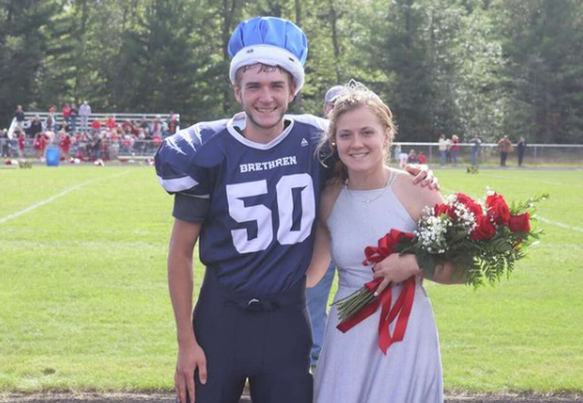 Gavin Rudlaff and Halle Richardson were crowned as Brethren High School royalty on Saturday afternoon. See more coverage from the homecoming game linked in our bio.
