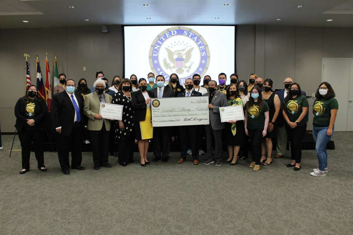 Laredo College received a check for $5,250,000 in federal funding on Monday during an announcement by Rep. Henry Cuellar.