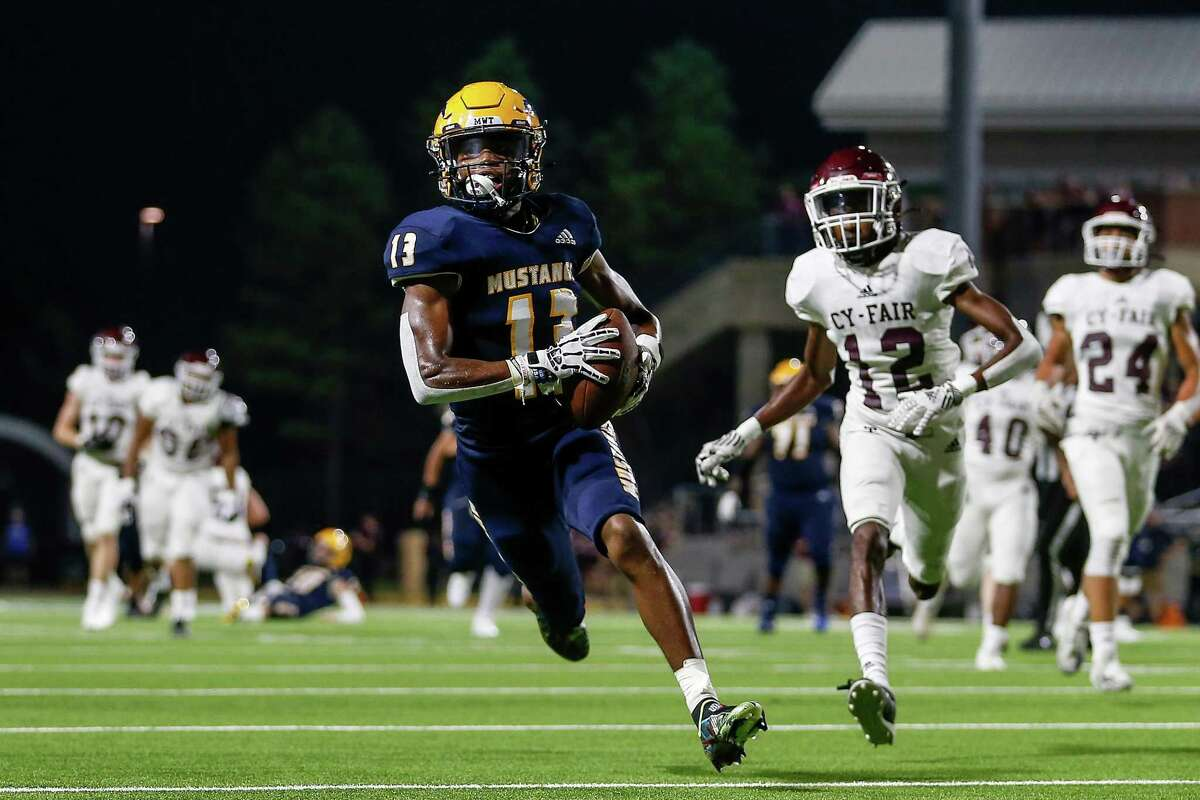 Cypress Ranch receiver Jarred Sample catches a pass for a touchdown against Cy-Fair earlier this year.