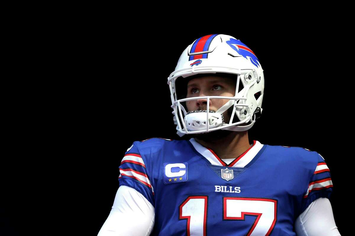 ORCHARD PARK, NEW YORK - SEPTEMBER 26: Quarterback Josh Allen #17 of the Buffalo Bills walks out of the tunnel for the third quarter of the game against the Washington Football Team at Highmark Stadium on September 26, 2021 in Orchard Park, New York. (Photo by Joshua Bessex/Getty Images)
