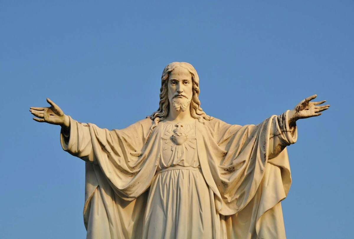 Statue of Jesus Christ, Christian God and his embrace of love.