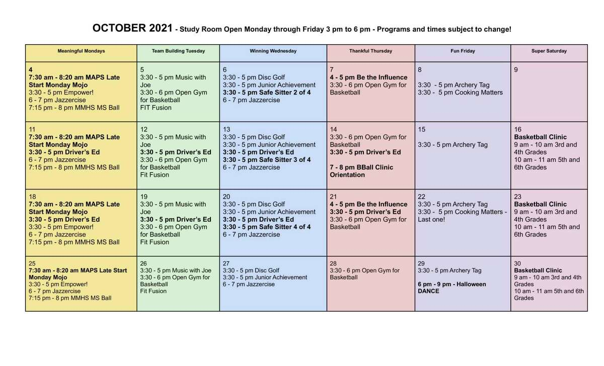 The Armory Youth Project has announced itsOctober offerings for students in grades 6-12. (Courtesy graphic)