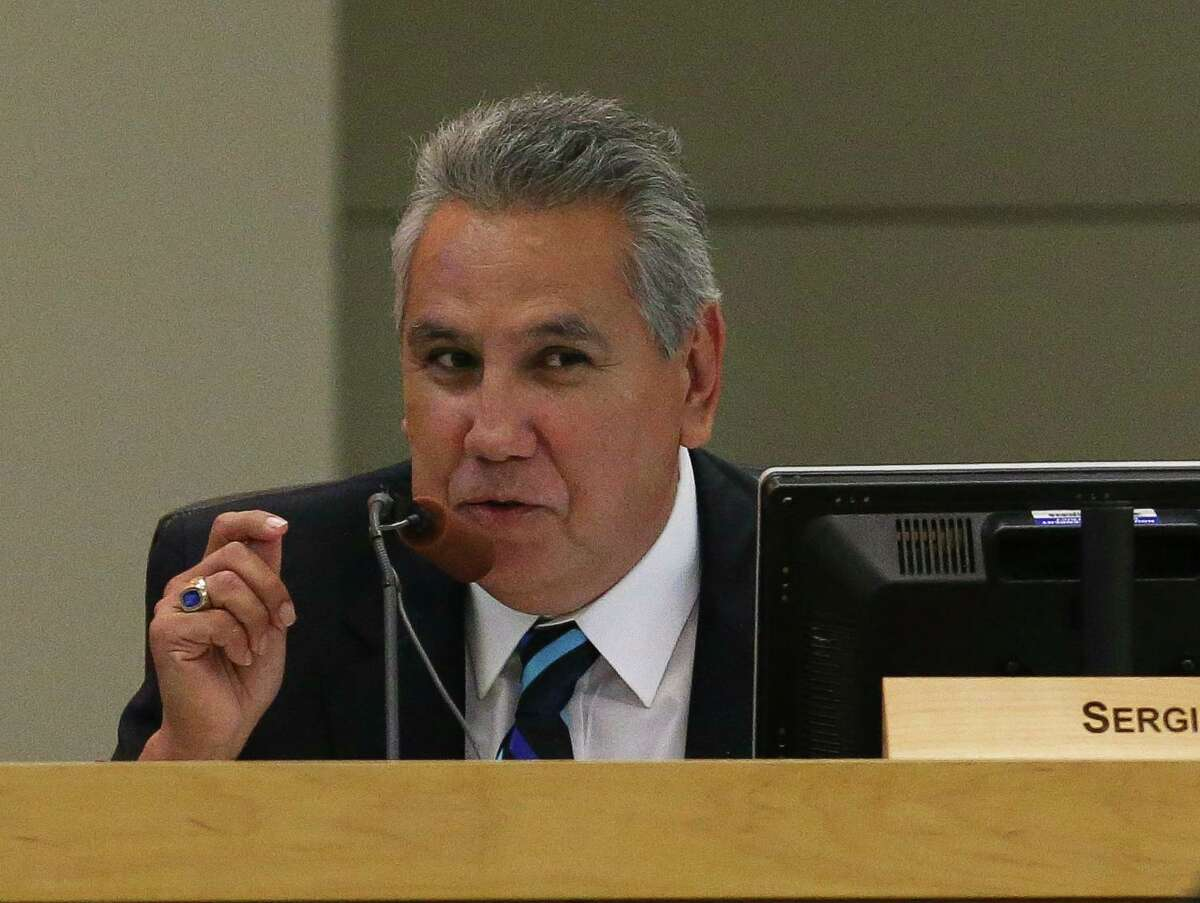 Former Houston ISD Board of Education Trustee Sergio Lira is photographed during a school board meeting on Thursday, June 14, 2018, in Houston.
