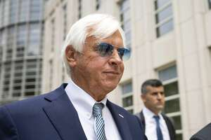 On July 12, 2021, horse trainer Bob Baffert left federal court in the Brooklyn borough of New York where Baffert is fighting the New York Racing Association's suspension of his ability to race at their tracks. A judge ruled Tuesday that NYRA canmove ahead with administrative hearings to ban Baffert from racing at their tracks.(AP Photo/John Minchillo, File)