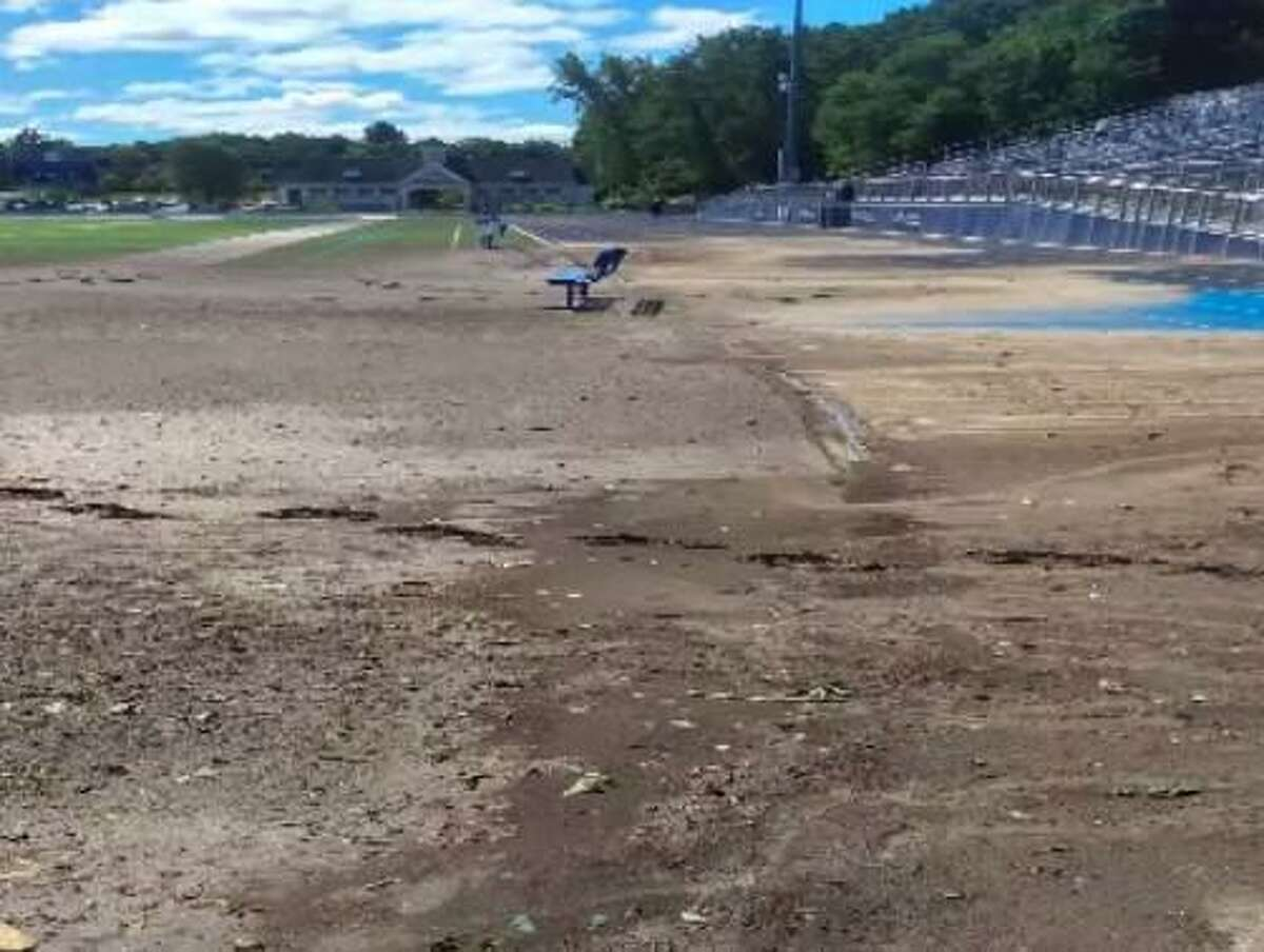 The Veterans Memorial Stadium Track directly after the storm in September.