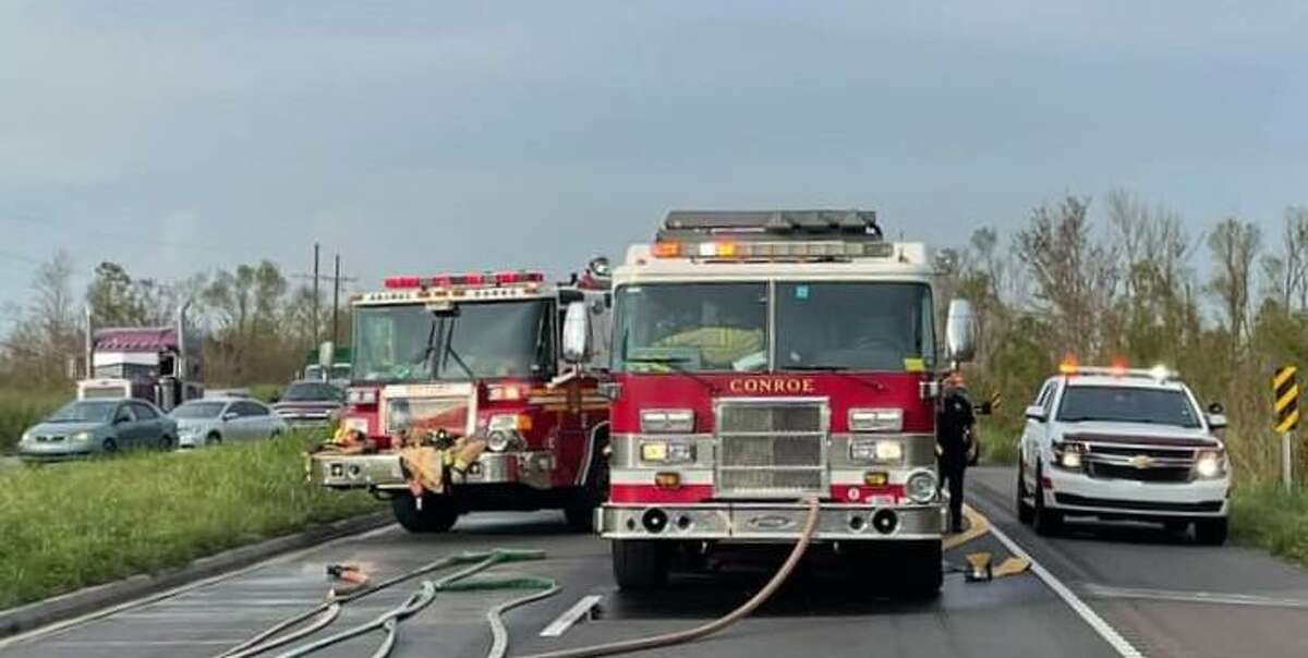 A Conroe Fire Department engine is seen on a St. Charles Parish road last month. Conroe firefighters were working in southeastern Louisiana for weeks following Hurricane Ida.