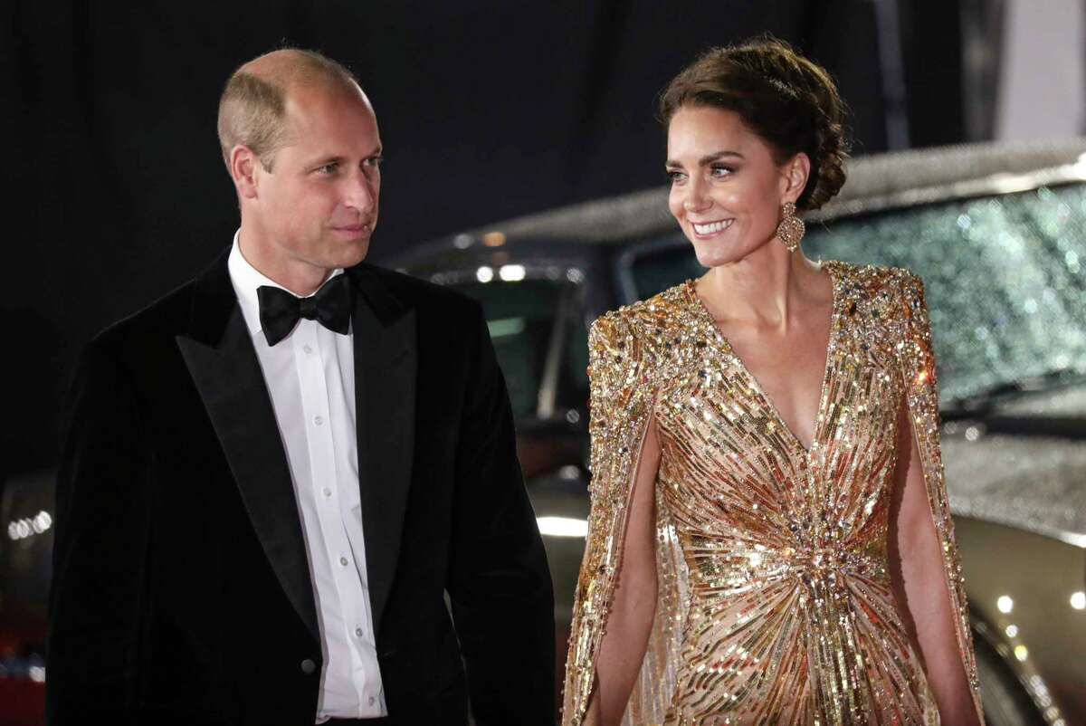 Britain's Prince William and his wife, Kate, the Duchess of Cambridge, arrive for the World premiere of the new film from the James Bond franchise 'No Time To Die.'