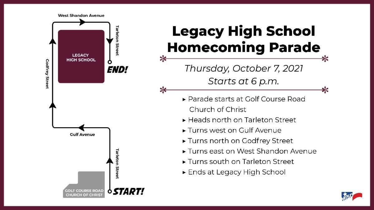 Legacy High School's homecoming route.