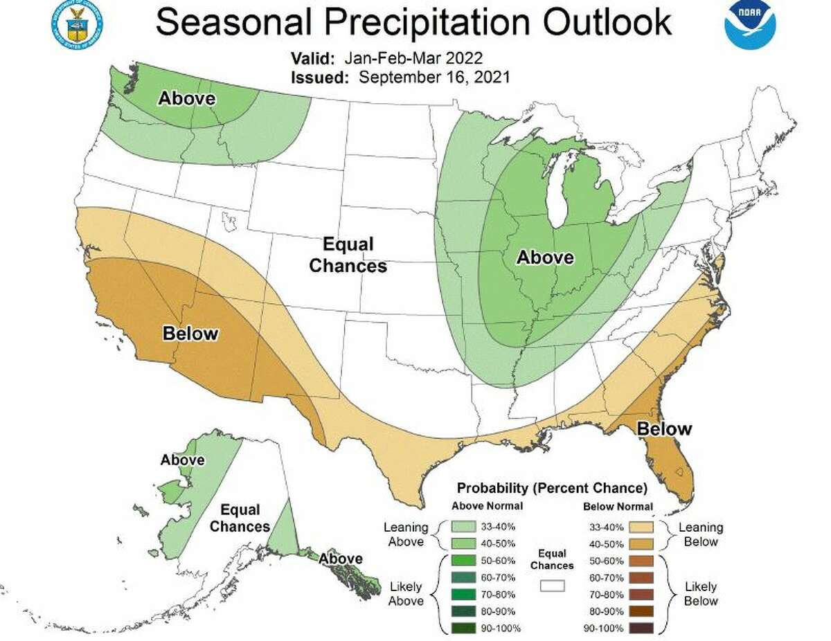 Seasonal precipitation forecast for early 2022.