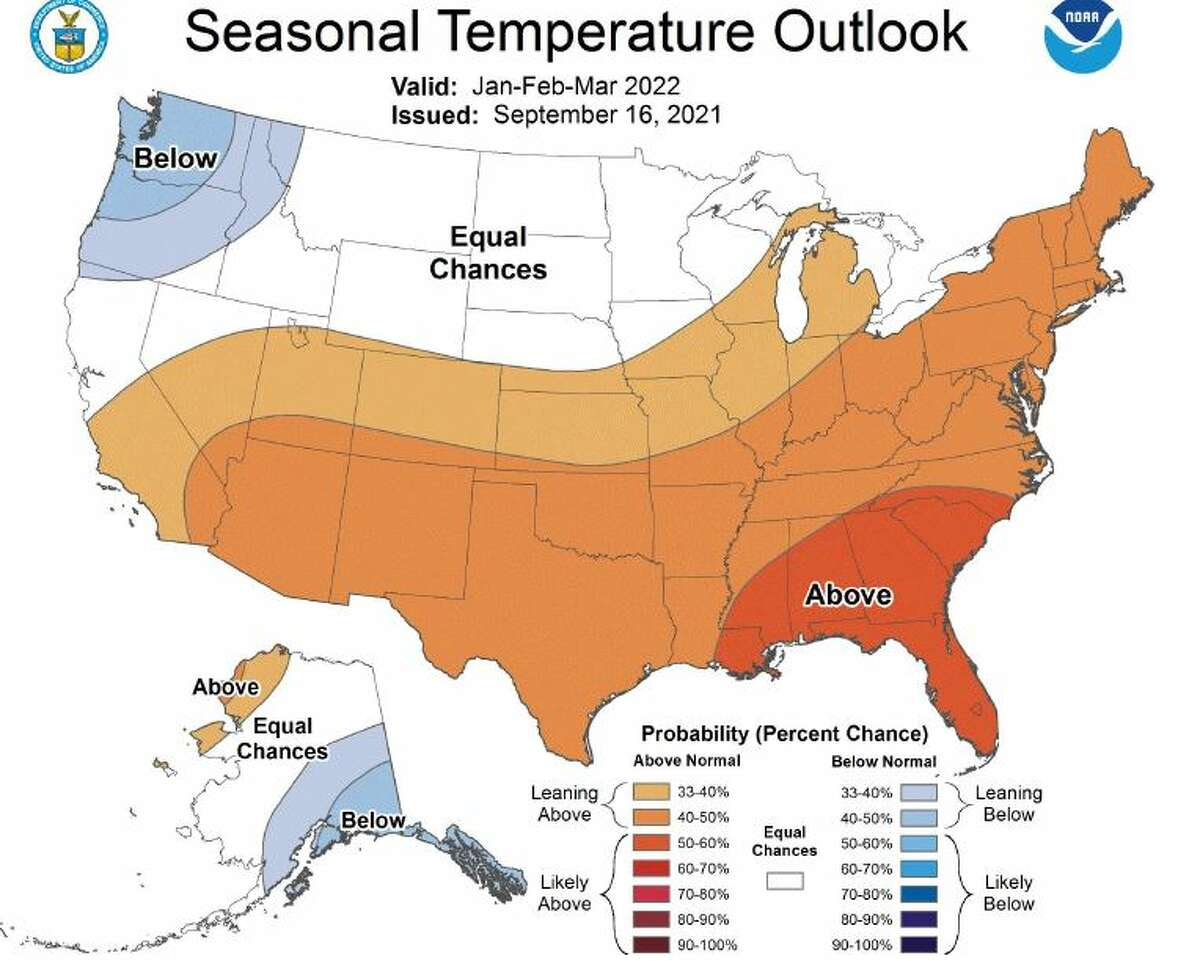 Seasonal temperature outlook for early 2022.