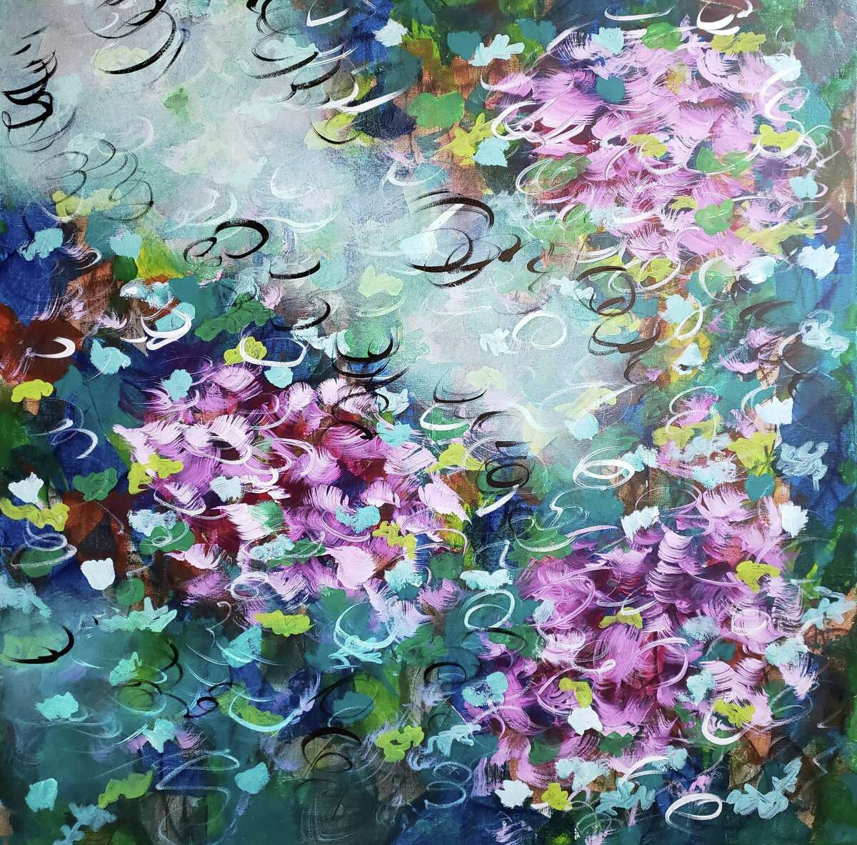Racquel Miller's Butteryfly Kisses acrylic work on gallery wrapped canvas.
