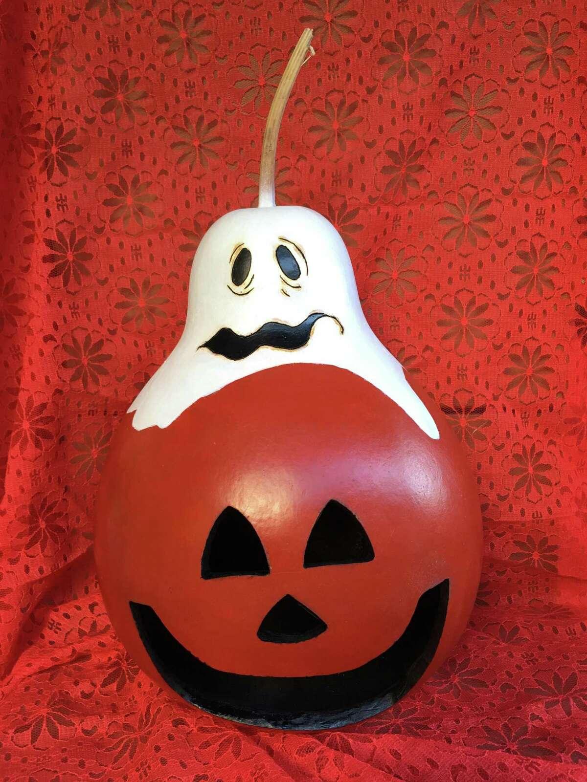 Happy Landing Halloween Gourd by Marie Angeresole.
