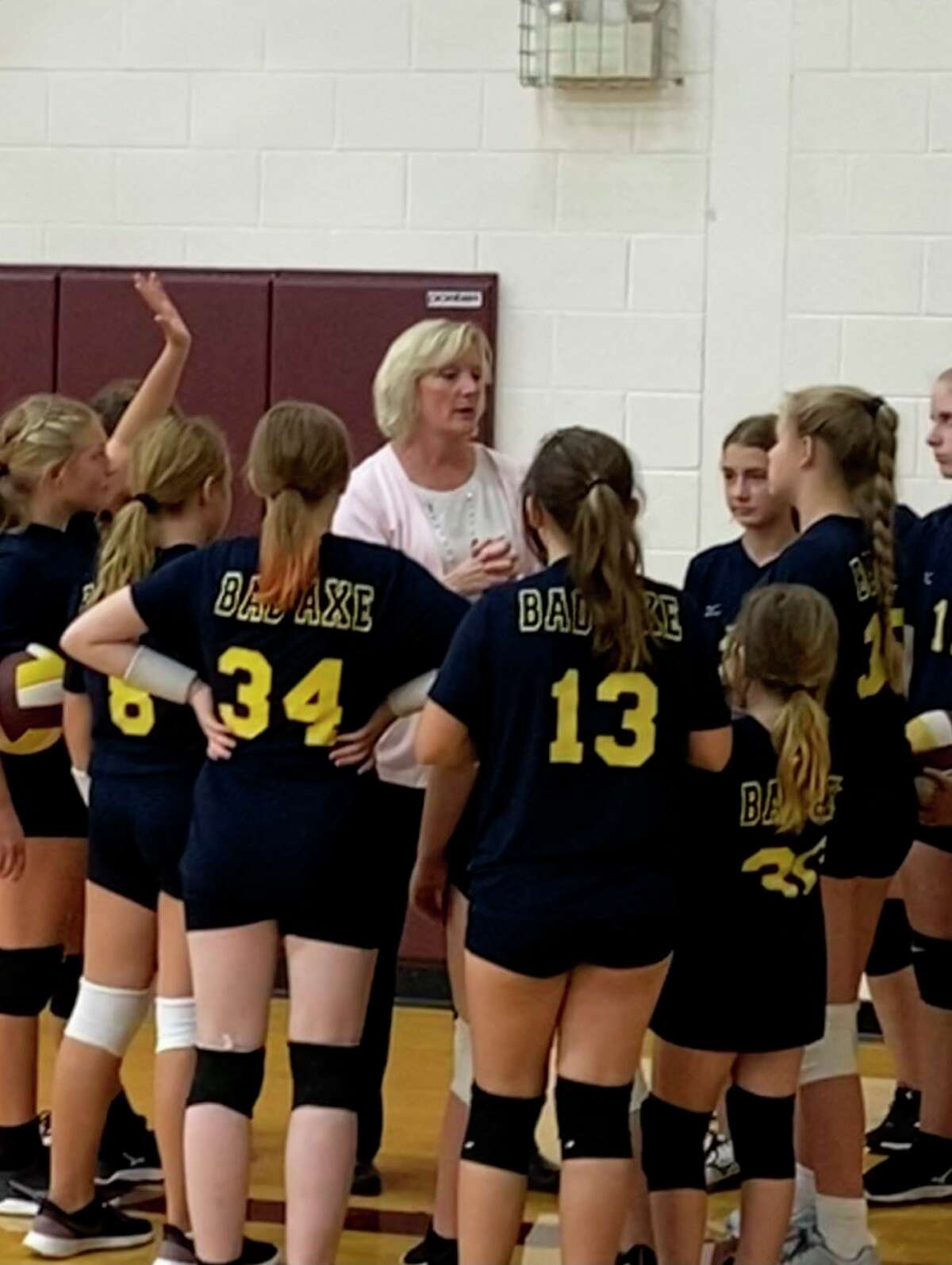 Mindy Breault coaching Bad Axe Jr. High Volleyball. (Ashlie Brining/Courtesy Photo)