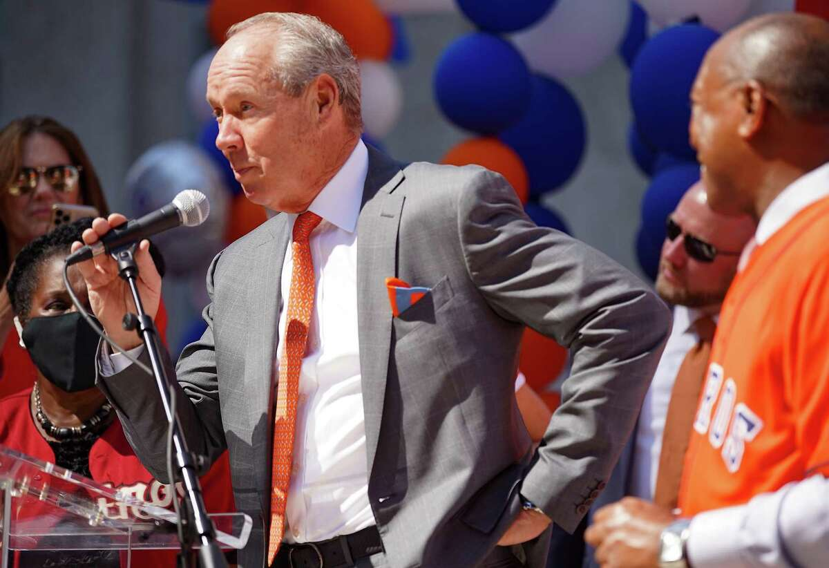 Owner and chairman of the Houston Astros Jim Crane addresses a crowd during the City of Houston's rally for the Houston Astros and their AL West Division Championship in Houston on Tuesday, Oct. 5, 2021. The Astros take on Chicago White Sox at 3:07 pm Thursday to kick off their playoff series.