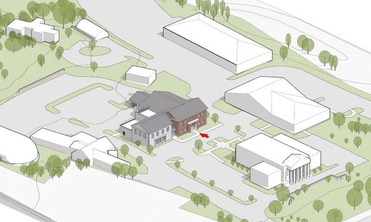 Renderings for the location and site specifics for the new police headquarters project in Wilton.