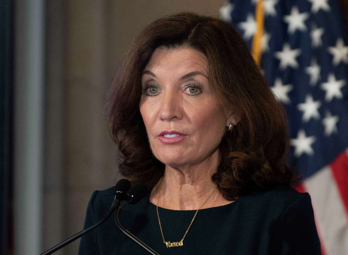 Gov. Kathy Hochul said she will fight a federal ruling that granted a temporary injunction to halt New York's vaccine mandate. The case involves 17 medical workers seeking religious exemptions.