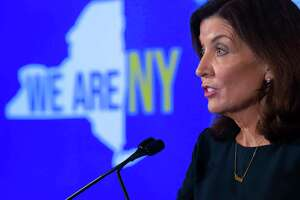 Gov. Kathy Hochul holds a COVID-19 briefing at the Capitol on Tuesday, Oct, 5, 2021 in Albany, N.Y.